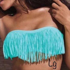L Space Strapless Fringe Bikini Top Size Large
